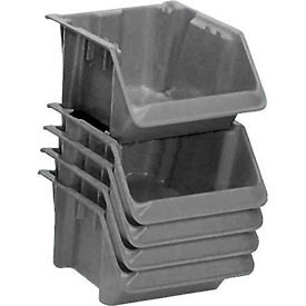 "LEWISBins Fiberglass Hopper Bin SH1811-7 Stack And Nest 18""L x 11-1/2""W x 8""H Gray - Pkg Qty 10"