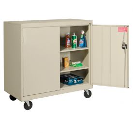 Sandusky Mobile Work Height Storage Cabinet TA2R462442 Double Door - 46x24x48, Putty