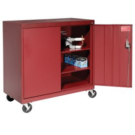 Sandusky Mobile Work Height Storage Cabinet TA2R462442 Double Door - 46x24x48, Red