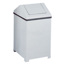 Rubbermaid® 14 Gallon Square Steel Waste Receptacle - White, FGT1414ERBWH