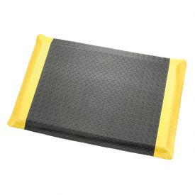 "Diamond Plate Ergonomic Mat 9/16"" Thick 24""X36"" Black/Yellow Border"