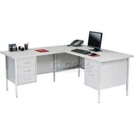"72"" x 66"" L-Desk With Left Return-Gray/Gray Top"