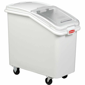 Rubbermaid® 3602-88 3.5 Cu Ft Plastic Bin Truck with Clear Lid & Scoop