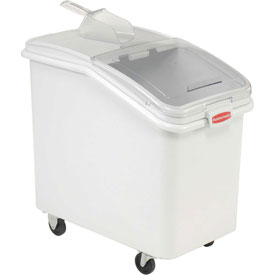 Rubbermaid® 3603-88 4.1 Cu. Ft Plastic Bin Truck with Clear Lid & Scoop