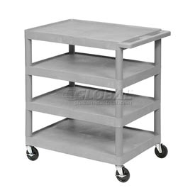Luxor® BC40 Gray Plastic Shelf Truck 32 x 24 x 39 4 Shelves