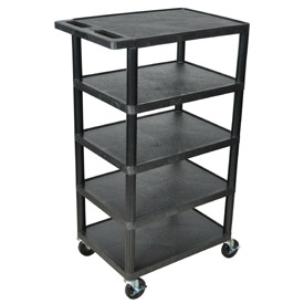 Luxor® BC50 Black Plastic Shelf Truck 24 x 18 x 36 with 5 Shelves