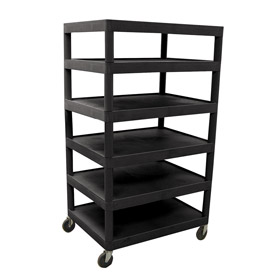 Luxor® BC60 Black Plastic Shelf Truck 32 x 24 x 60 6 Shelves
