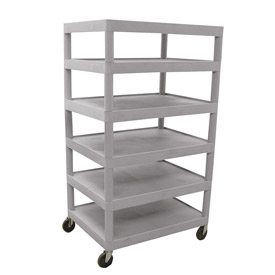 Luxor® BC60 Gray Plastic Shelf Truck 32 x 24 x 60 6 Shelves