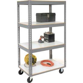 Easy Adjust Boltless 4 Shelf Truck 36 x 18 with Laminate Shelves - Polyurethane Casters