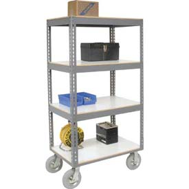 Easy Adjust Boltless 4 Shelf Truck 36 x 24 with Laminate Shelves - Pneumatic Casters