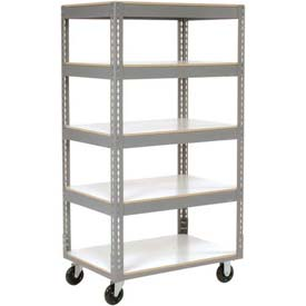 Easy Adjust Boltless 5 Shelf Truck 48 x 24 with Laminate Shelves - Polyurethane Casters