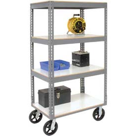 Easy Adjust Boltless 4 Shelf Truck 60 x 24 with Laminate Shelves - Rubber Casters
