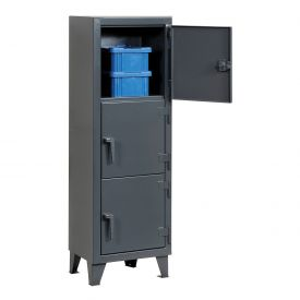 Strong Hold® Personnel Locker 25-18-3TMT - Multiple Tier 22x18x68 3 Doors Assembled Gray