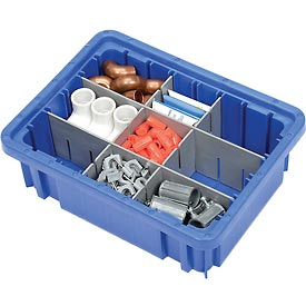 "Plastic Dividable Grid Container - DG91035,10-7/8""L x 8-1/4""W x 3-1/2""H, Blue - Pkg Qty 20"