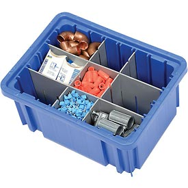 "Plastic Dividable Grid Container - DG91050,10-7/8""L x 8-1/4""W x 5""H, Blue - Pkg Qty 20"