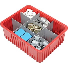 "Plastic Dividable Grid Container - DG93080, 22-1/2""L x 17-1/2""W x 8""H, Red - Pkg Qty 3"