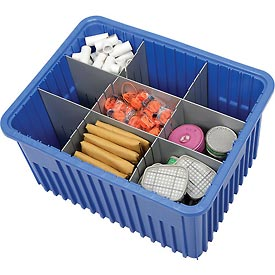 "Plastic Dividable Grid Container - DG93120, 22-1/2""L x 17-1/2""W x 12""H, Blue - Pkg Qty 3"