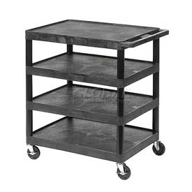 Luxor® BC45 Black Plastic Shelf Truck 24 x 18 x 35-1/2 4 Shelves