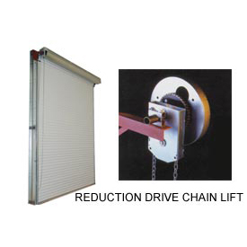 DBCI 12 x 10 White 2000 Series Roll-Up Dock Door with 4:1 Reduction Drive Chain Lift