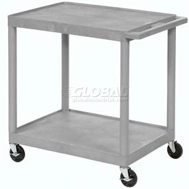 Luxor® HE38 Gray Plastic Shelf Truck 32 x 24 x 33 2 Shelves