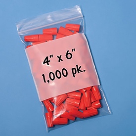 "Resealable Poly Bags With Write-On Label 4"" x 6"" 2 Mil 1,000 Pack"