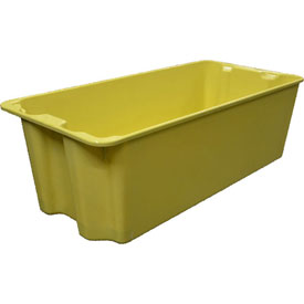 """Molded Fiberglass Nest and Stack Tote 780008 with Wire - 42-1/2"""" x 20"""" x 14-1/4"""", Yellow"""