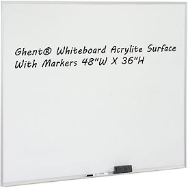 "Ghent 48"" x 36""H Whiteboard with Aluminum Frame - Non-Magnetic - Made in USA"