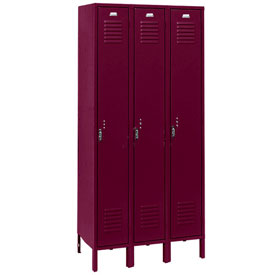 Penco 6165V-3-736KD Vanguard Locker Pull Latch Single Tier 12x18x72 3 Doors Unassembled Burgundy
