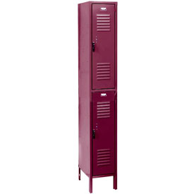 Penco 6231V-1-736 Vanguard Locker Pull Latch Double Tier 12x12x36 2 Doors Ready To Assemble Burgundy
