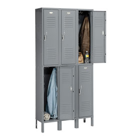 Penco 6231V-3-028KD Vanguard Locker Pull Latch Double Tier 12x12x36 6 Doors Unassembled Gray