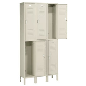Penco 6233V-3 Vanguard Locker Pull Latch Double Tier 12x15x36 6 Doors Ready To Assemble Champagne