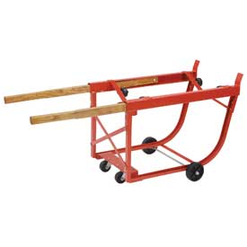 Heavy Duty Rotating Drum Cradle with Wood Handles & Polyolefin Wheels