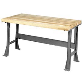"""60""""W x 30""""D Extra Long Industrial Workbench, Maple Butcher Block Square Edge - Gray"""