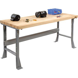 "72""W x 30""D Extra Long Industrial Workbench, Maple Butcher Block Square Edge - Gray"