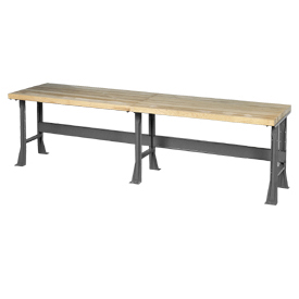 "120""W x 30""D Extra Long Industrial Workbench, Maple Butcher Block Square Edge - Gray"