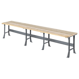 "216""W x 30""D Extra Long Industrial Workbench, Maple Butcher Block Square Edge - Gray"