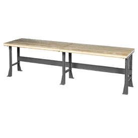 "144"" W x 36"" D Extra Long Industrial Workbench, Shop Top Safety Edge - Gray"