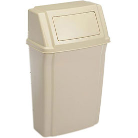 Rubbermaid Wall Mount Trash Can with Swing Lid Beige