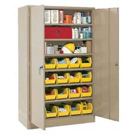 "Locking Storage Cabinet 48""W X 24""D X 78""H With 24 Yellow Stacking Bins and 6 Shelves Unassembled"