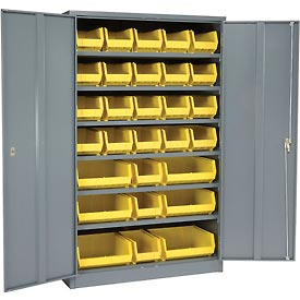 "Locking Storage Cabinet 48""W X 24""D X 78""H With 29 Yellow Stacking Bins and 6 Shelves Unassembled"