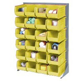 "Singled Sided Louvered Bin Rack 35""W x 15""D x 50""H with 42 of Yellow Premium Stacking Bins"