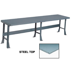 "144"" W x 36"" D Extra Long Production Workbench, Steel Square Edge - Gray"
