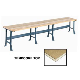 "180"" W x 30"" D Extra Long Production Workbench, Shop Top Square Edge - Gray"