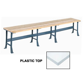 "180"" W x 30"" D Extra Long Production Workbench, Plastic Laminate Square Edge - Gray"