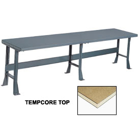 "120"" W x 36"" D Extra Long Production Workbench, Shop Top Square Edge - Gray"