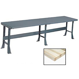 "120"" W x 36"" D Extra Long Production Workbench, Maple Butcher Block Square Edge - Gray"