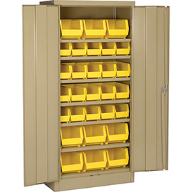 "Locking Storage Cabinet 30""W X 15""D X 66""H With 29 Yellow Stacking Bins and 6 Shelves Assembled"