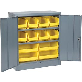 "Locking Storage Cabinet 36""W X 18""D X 48""H With 12 Yellow Stacking Bins and 2 Shelves Assembled"