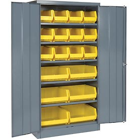 "Locking Storage Cabinet 36""W X 18""D X 72""H With 18 Yellow Shelf Bins and 5 Shelves Assembled"