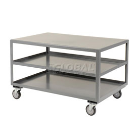 Jamco All Welded Portable Steel Table LC248 3 Shelves 48x24 1200 Lb. Capacity